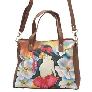 Multi Color Floral  Genuine Leather Hobo Satchel